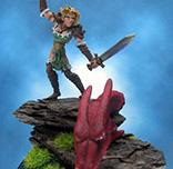 Painted Ral Partha Miniature Elf Scout Slaying Dragon